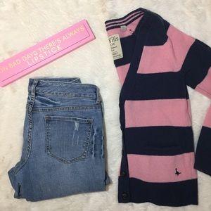 Jack Wills Striped Wool Cardigan XS Pink & Navy
